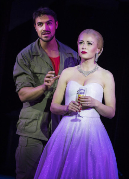 Gian Marco Schiaretti (Che) and Emma Hatton (Eva Perón) in Evita - Pamela Raith Photography (060)